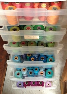 My color stash of sewing threads.Peggy Osterkamp