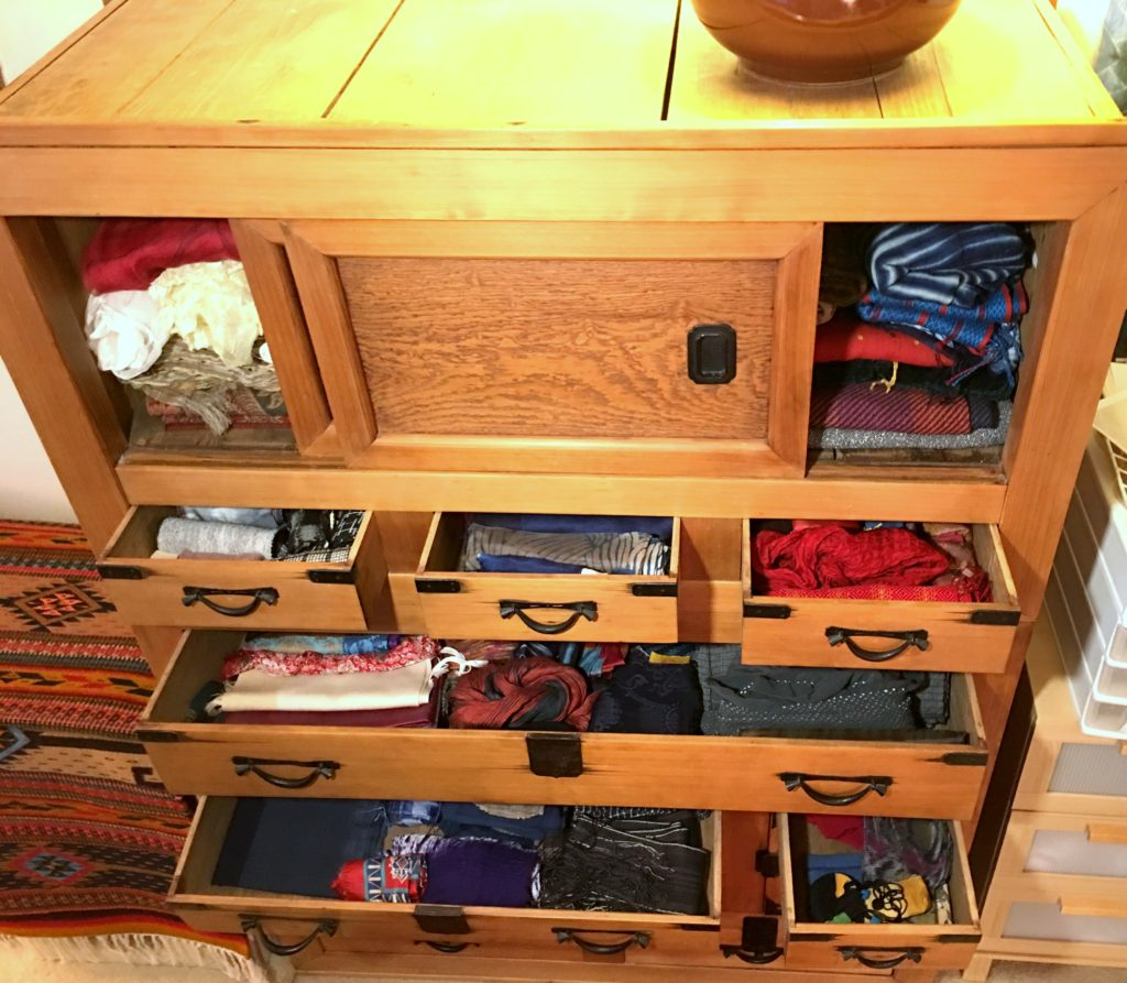 Scarves in drawers of tansu chest. I need discipline to put them away after wearing them.