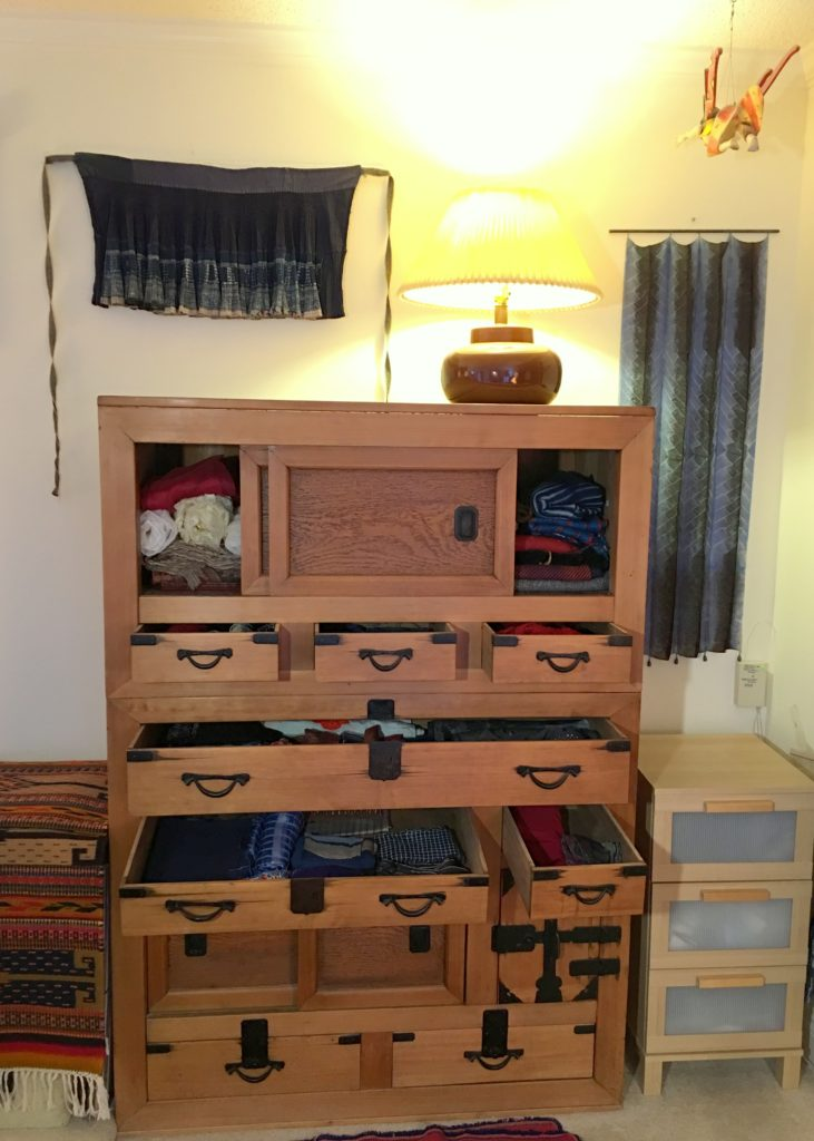 Drawers in tansu with scarves. Other places for my pj's, etc.